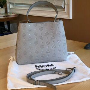 MCM Sarah Convertible Grey Leather Hobo Bag